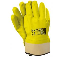 Rękawice ochronne ostrzegawcze powlekane nitrylem